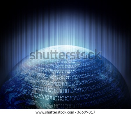 Digital code with earth background - stock photo