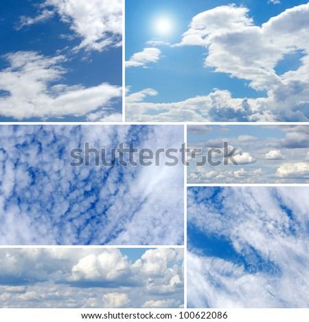 Digital collage of beautiful blue cloudy sky on a sunny day - stock photo