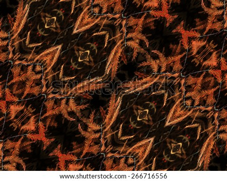 Digital collage technique ornament seamless pattern nature motif in warm tones and black background. - stock photo