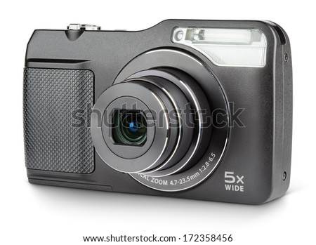 Digital compact camera with open lens isolated on white with clipping path - stock photo