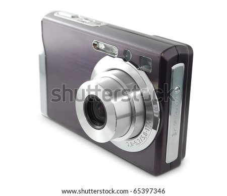 Digital compact photo camera isolated on white background - stock photo