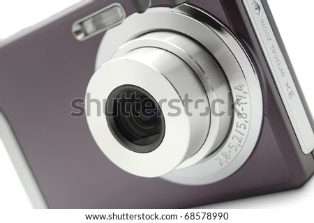 Digital compact photocamera isolated on white background