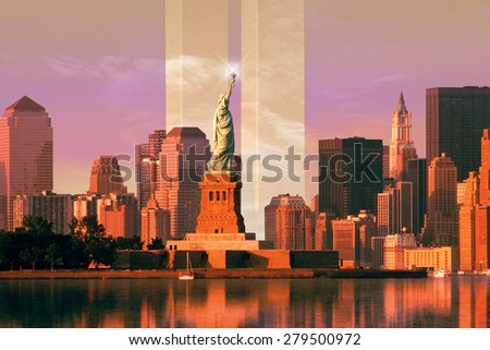 Digital composite: New York skyline, World Trade Center, Statue of Liberty - stock photo