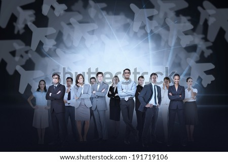 Digital composite of business team against airplane background - stock photo