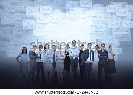 Digital composite of business team against email background