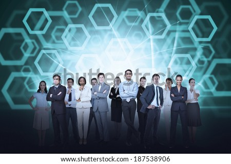 Digital composite of business team against hexagon background