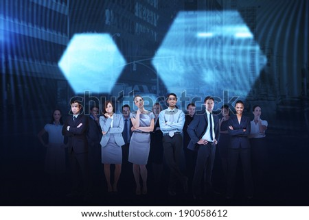 Digital composite of business team against hexagon background - stock photo