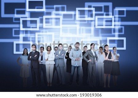 Digital composite of business team against rectangle background
