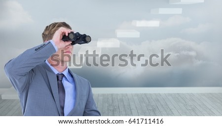 Digital composite of Digital composite image of businessman using binoculars against steps in sky