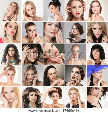 Digital composite of faces different fashion glamour young women - stock photo