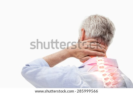 Digital composite of Highlighted spine pain of man - stock photo