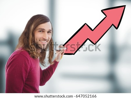 Digital composite of Man with pen against arrow and blurry grey office