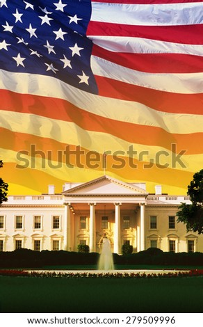 Digital composite: The White House with American flag - stock photo