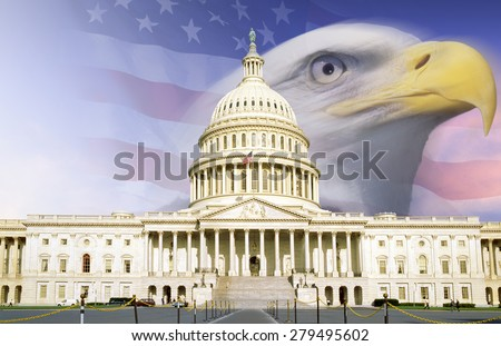 Digital composite: U.S. Capitol with American eagle and flag - stock photo