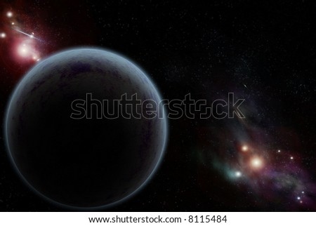 Digital created starfield and planet - stock photo
