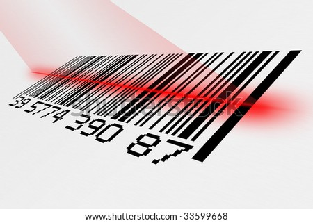 Digital creation of a bar code with red laser.