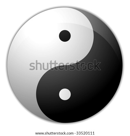 Digital creation of a yin yang symbol with a light shade.