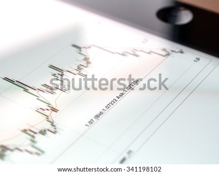 Digital currency EUR-USD market chart on tablet screen - stock photo