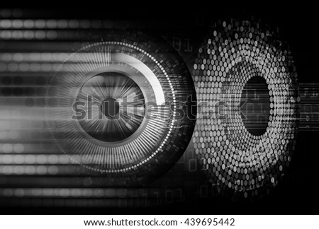 digital data background, black abstract light hi tech pixel internet technology, Cyber security concept, Cyber data digital computer. eye scan virus. motion move speed.