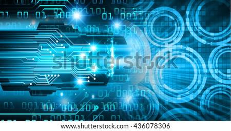 digital data background,blue abstract light hi tech pixel internet technology, Cyber security concept, Cyber data digital computer, scan virus - stock photo