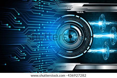 digital data background,blue abstract light hi tech pixel internet technology, Cyber security concept, Cyber data digital computer. eye scan virus - stock photo