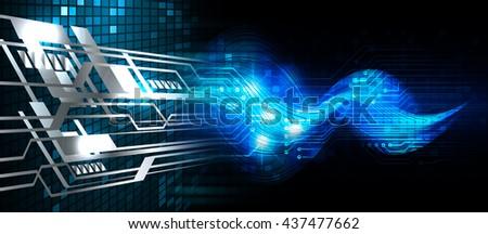 digital data background,blue abstract light hi tech pixel internet technology, Cyber security concept, Cyber data digital computer. wave - stock photo