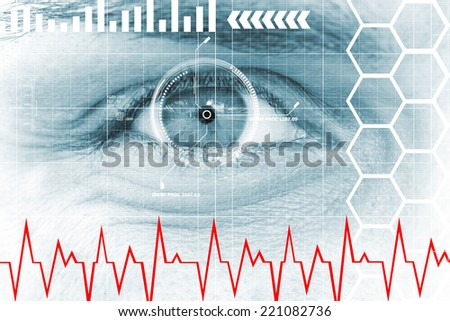 Digital, data eye - stock photo