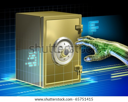 Digital data protected by a safe. An hacker hand is trying to open the safe. Digital illustration. - stock photo