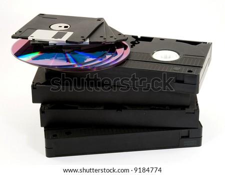 digital data storage media studio isolated - stock photo