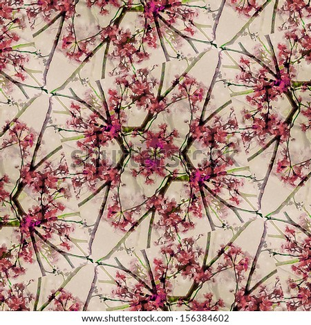 Digital decorative ornament floral pattern in red  tones. - stock photo