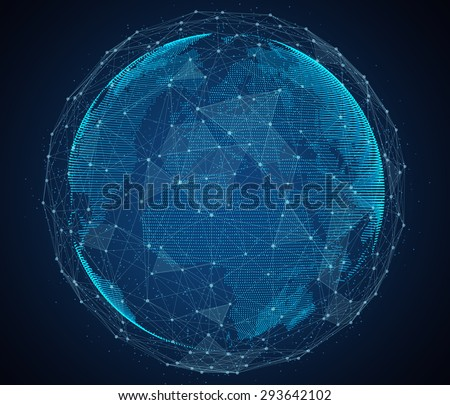 Digital design of a global network of Internet. - stock photo