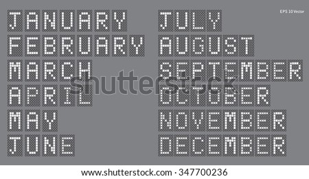 Digital Display - Calendar Months