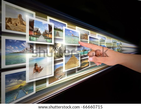 Digital display choice - all pictures are coming from my gallery - stock photo