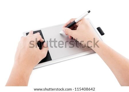 Digital drawing board he writes. - stock photo
