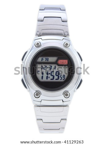 Digital Dress Watch with red alarm on white - stock photo