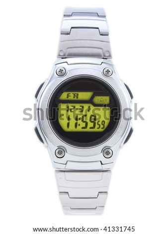 Digital Dress Watch with red face on white - stock photo