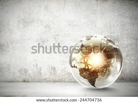 Digital Earth planet on background of sketches - stock photo