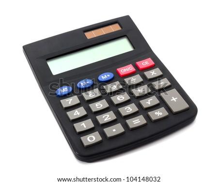 Digital electronic calculator isolated on white background - stock photo