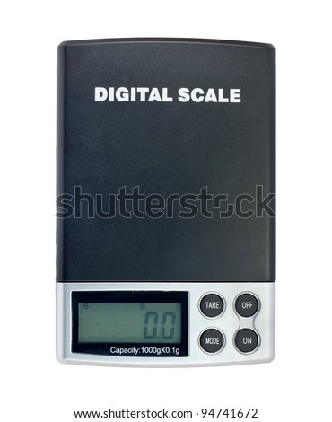 Digital electronic scale isolated on a white background - stock photo