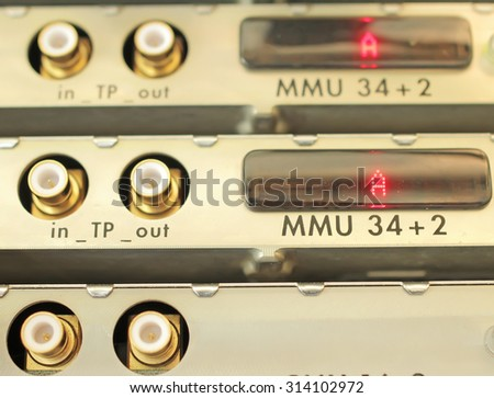 digital equipment of communication for data transmission. Multiplexers of last generation the modern equipmentTelecommunication equipment, optical multiplexer in the server room mobile operator - stock photo