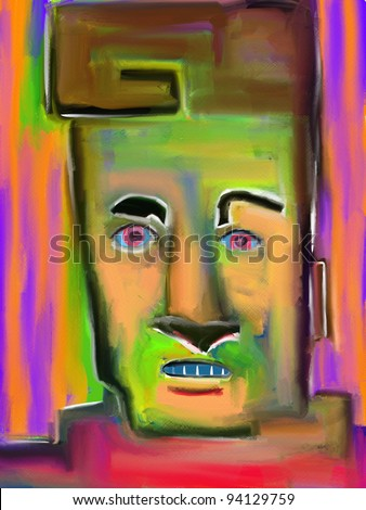 digital expressionist painting of an intense face painted with abstract shapes and colors - stock photo