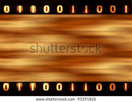 Digital film strip with binary sprockets - stock photo