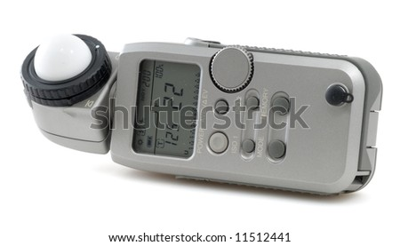 Digital flashmeter on white background