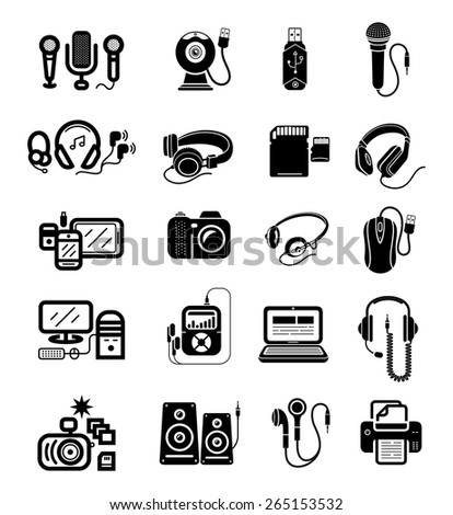 Digital gadgets with speakers, microphones, headphones, camera, smartphone, digital tablet, desktop computer, earpieces, memory stick, mouse, microphone isolated on white background. Raster version - stock photo