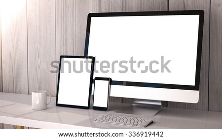 Digital generated devices on desktop, responsive blank mock-up. - stock photo