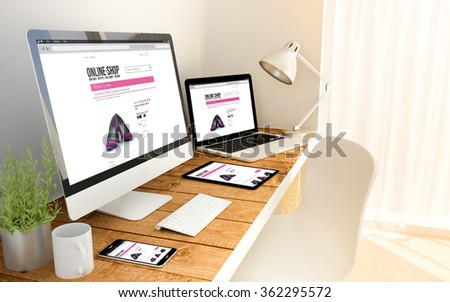 Digital generated devices online shop on an workplace with laptop, tablet and smartphone. All screen graphics are made up. 3d illustration. - stock photo