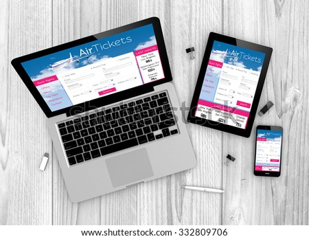 Digital generated devices over a wooden table. laptop, tablet and white smartphone with made up responsive ticket flight website. All screen graphics are made up. 3D generated. - stock photo