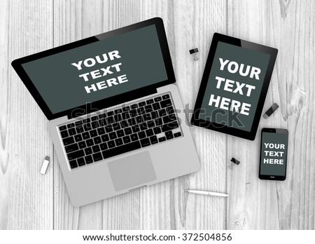 Digital generated devices over a wooden table. laptop, tablet and white smartphone with your text here on screen. 3d illustration. - stock photo