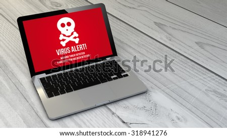digital generated  virus computer over wooden table. Screen graphics are made up. - stock photo