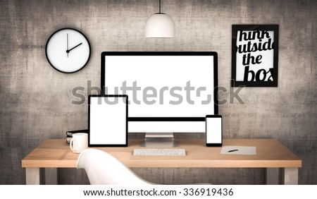digital generated workplace desktop with blank screen digital tablet, computer, laptop and various office objects  - stock photo